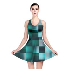 Background Squares Metal Green Reversible Skater Dress
