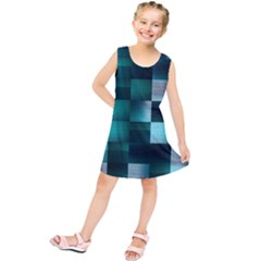 Background Squares Metal Green Kids  Tunic Dress