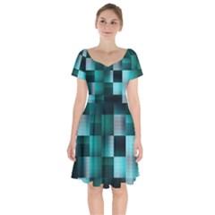 Background Squares Metal Green Short Sleeve Bardot Dress