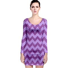 Background Fabric Violet Long Sleeve Bodycon Dress