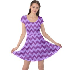Background Fabric Violet Cap Sleeve Dress