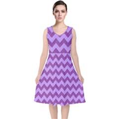 Background Fabric Violet V Neck Midi Sleeveless Dress