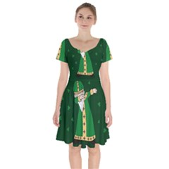 St  Patrick  Dabbing Short Sleeve Bardot Dress by Valentinaart