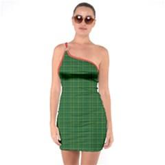 Irish Style Tartan One Shoulder Ring Trim Bodycon Dress by cglightNingART