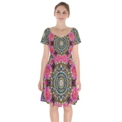 Roses In A Color Cascade Of Freedom And Peace Short Sleeve Bardot Dress by pepitasart