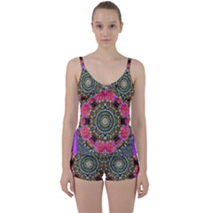 Roses In A Color Cascade Of Freedom And Peace Tie Front Two Piece Tankini by pepitasart