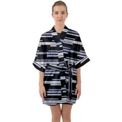 Skewed Stripes Pattern Design Quarter Sleeve Kimono Robe