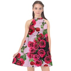 Roses Pink Halter Neckline Chiffon Dress  by snowwhitegirl