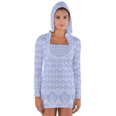 Damask Light Blue Long Sleeve Hooded T Shirt by snowwhitegirl