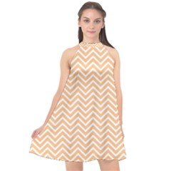 Orange Chevron Halter Neckline Chiffon Dress  by snowwhitegirl