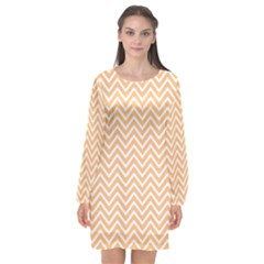 Orange Chevron Long Sleeve Chiffon Shift Dress  by snowwhitegirl