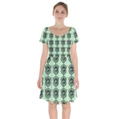 Three Women Green Short Sleeve Bardot Dress by snowwhitegirl