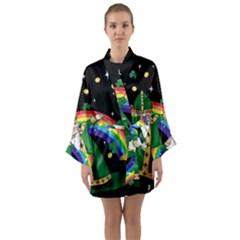 St  Patrick  Dabbing Long Sleeve Kimono Robe by Valentinaart