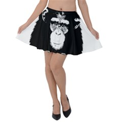 Stop Animal Abuse   Chimpanzee  Velvet Skater Skirt by Valentinaart