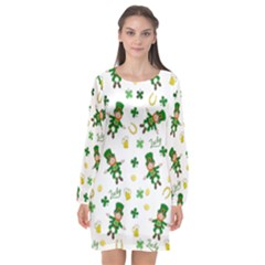 St Patricks Day Pattern Long Sleeve Chiffon Shift Dress  by Valentinaart