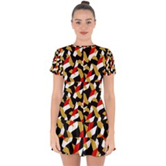 Colorful Abstract Pattern Drop Hem Mini Chiffon Dress by dflcprints