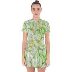 Light Floral Collage  Drop Hem Mini Chiffon Dress by dflcprints