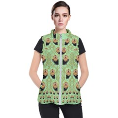 Lady Panda With Hat And Bat In The Sunshine Women s Puffer Vest by pepitasart