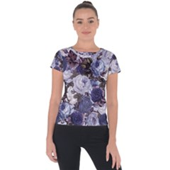 Rose Bushes Blue Short Sleeve Sports Top  by snowwhitegirl
