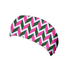 Chevron Pink Green Retro Yoga Headband by snowwhitegirl