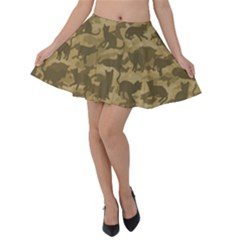 Operation Desert Cat Camouflage Catmouflage Velvet Skater Skirt by PodArtist
