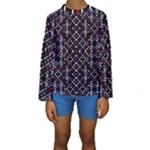 Futuristic Geometric Pattern Kids  Long Sleeve Swimwear