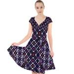 Futuristic Geometric Pattern Cap Sleeve Front Wrap Midi Dress