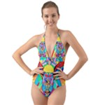 Arcturian Metamorphosis Grid - Halter Cut-Out One Piece Swimsuit