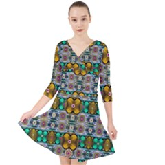 Rainbow Flowers And Decorative Peace Quarter Sleeve Front Wrap Dress by pepitasart