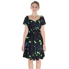 Dark Splatter Abstract Short Sleeve Bardot Dress by dflcprints