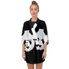 Panda  Half Sleeve Chiffon Kimono