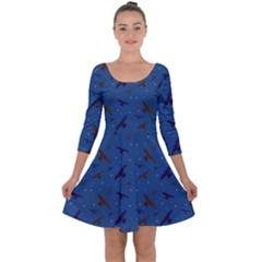 Falcons And Stars Quarter Sleeve Skater Dress by greenthanet