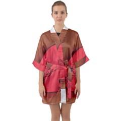 Red Worm Quarter Sleeve Kimono Robe by snowwhitegirl