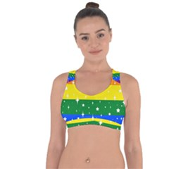 Sparkly Rainbow Flag Cross String Back Sports Bra by Valentinaart