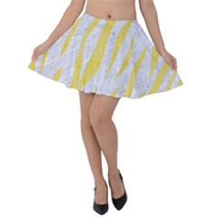 Skin3 White Marble & Yellow Watercolor (r) Velvet Skater Skirt by trendistuff
