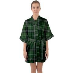 Green Plaid Pattern Quarter Sleeve Kimono Robe