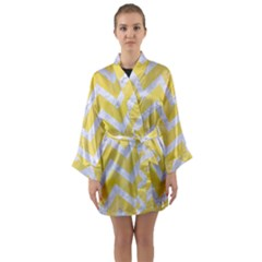 Chevron9 White Marble & Yellow Watercolor Long Sleeve Kimono Robe