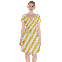 Stripes3 White Marble & Yellow Marble (r) Short Sleeve Bardot Dress by trendistuff