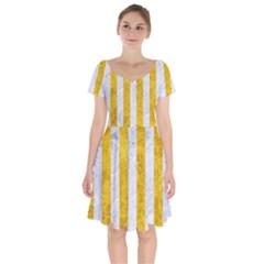 Stripes1 White Marble & Yellow Marble Short Sleeve Bardot Dress by trendistuff