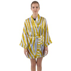 Skin4 White Marble & Yellow Marble Long Sleeve Kimono Robe by trendistuff