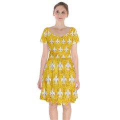 Royal1 White Marble & Yellow Marble (r) Short Sleeve Bardot Dress by trendistuff
