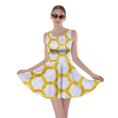 Hexagon2 White Marble & Yellow Marble (r) Skater Dress by trendistuff