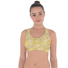 Damask2 White Marble & Yellow Marble Cross String Back Sports Bra by trendistuff