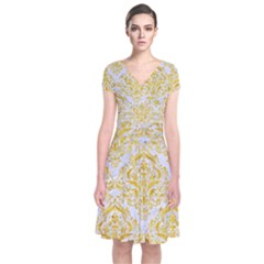 Damask1 White Marble & Yellow Marble (r) Short Sleeve Front Wrap Dress by trendistuff