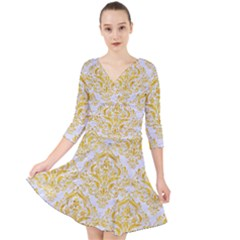 Damask1 White Marble & Yellow Marble (r) Quarter Sleeve Front Wrap Dress by trendistuff