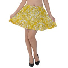 Damask1 White Marble & Yellow Marble Velvet Skater Skirt by trendistuff