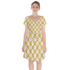 Circles2 White Marble & Yellow Marble Short Sleeve Bardot Dress by trendistuff