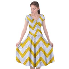Chevron9 White Marble & Yellow Marble (r) Cap Sleeve Wrap Front Dress by trendistuff