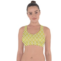 Woven2 White Marble & Yellow Leather Cross String Back Sports Bra by trendistuff