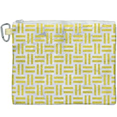 Woven1 White Marble & Yellow Leather (r) Canvas Cosmetic Bag (xxxl) by trendistuff